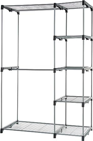 Armario móvil con 5 estantes y 2 barras para prendas.,La barra inferior extraíble permite colgar pre
