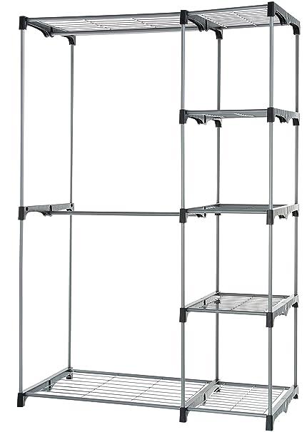 Ordinaire AmazonBasics Double Rod Freestanding Closet   Silver