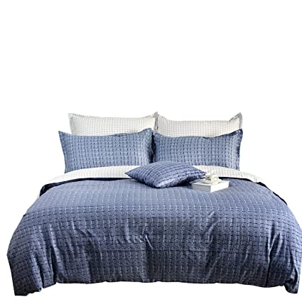 Amazon Com Tealp Masculine Duvet Covers Blue And White Bedding