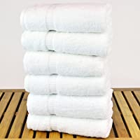 Milap White cotton Hand Towels Set of 6