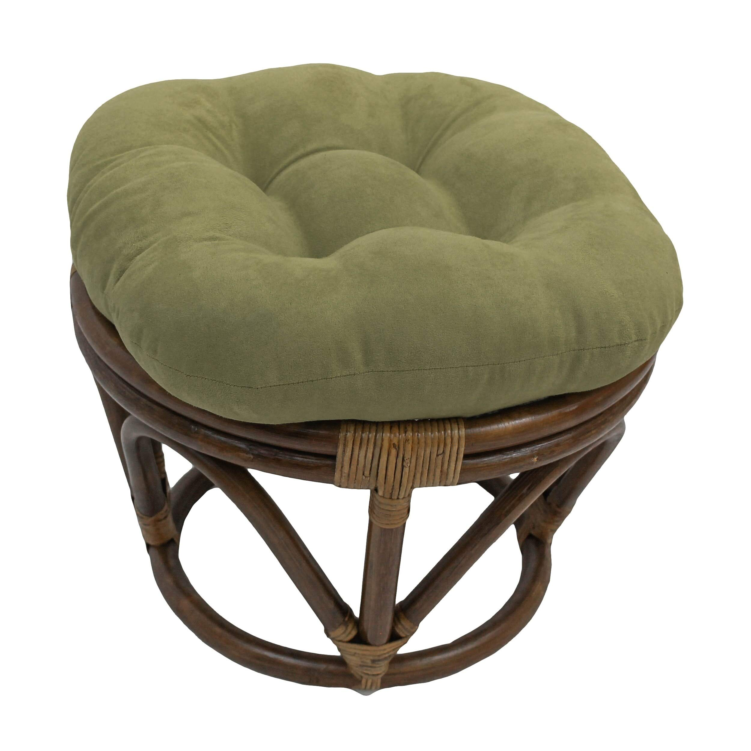 International Caravan Bali Papasan Footstool with Microsuede Cushion Sage by International Caravan