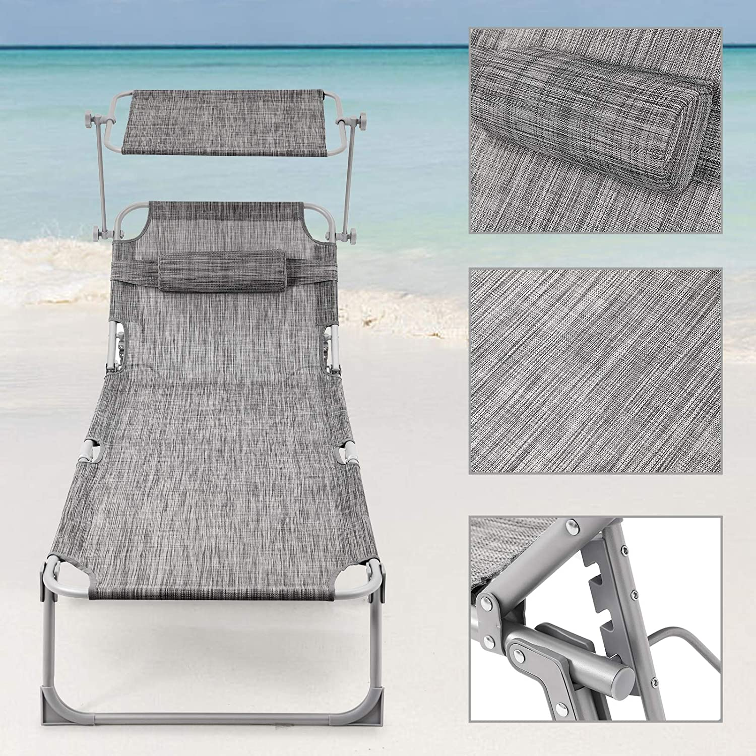 with Sunshade and Adjustable Backrest GCB19T-2 SONGMICS Sun Lounger Set of 2 Recliner Chair 193 x 63 x 32 cm 250 kg Load