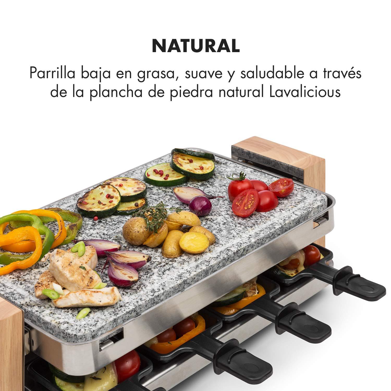 KLARSTEIN Prime-Rib Raclette con Piedra Natural - Raclette-Barbacoa, Barbacoa de Fiestas, 2 en 1, para 8 Personas, 1500 W, Termostato, Regulable, ...