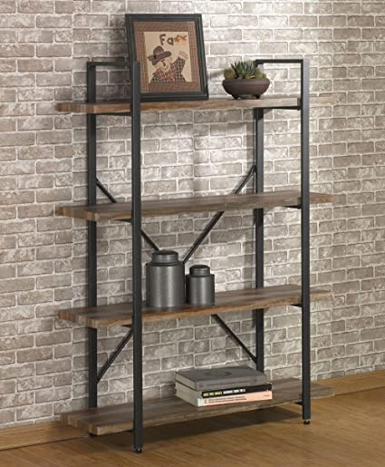 OK Furniture 4 Tier Bookcases And Book Shelves Industrial Vintage Metal Wood