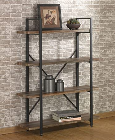 O K FURNITURE 4 Tier Bookcases and Book Shelves, Industrial Vintage Metal and Wood Bookcases Furniture