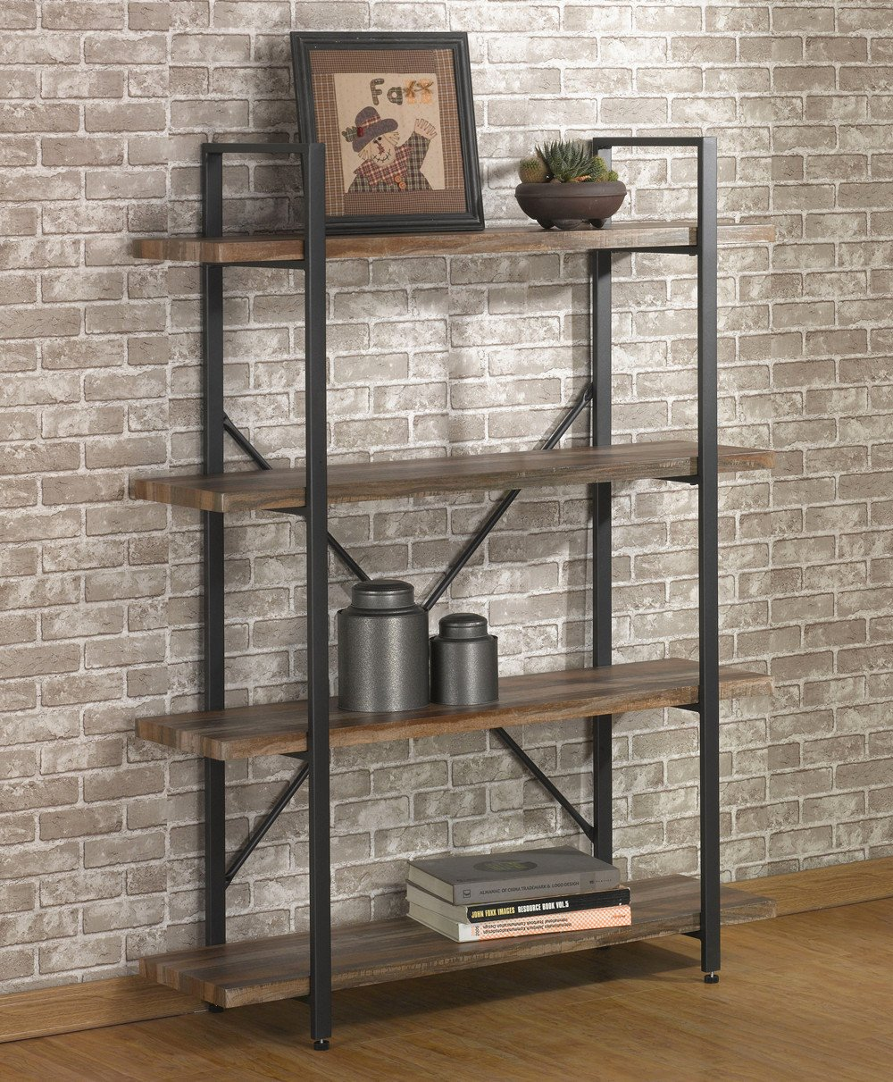 O&K Furniture 4 Tier Bookcases and Book Shelves, Industrial Vintage Metal and Wood Bookcases Furniture
