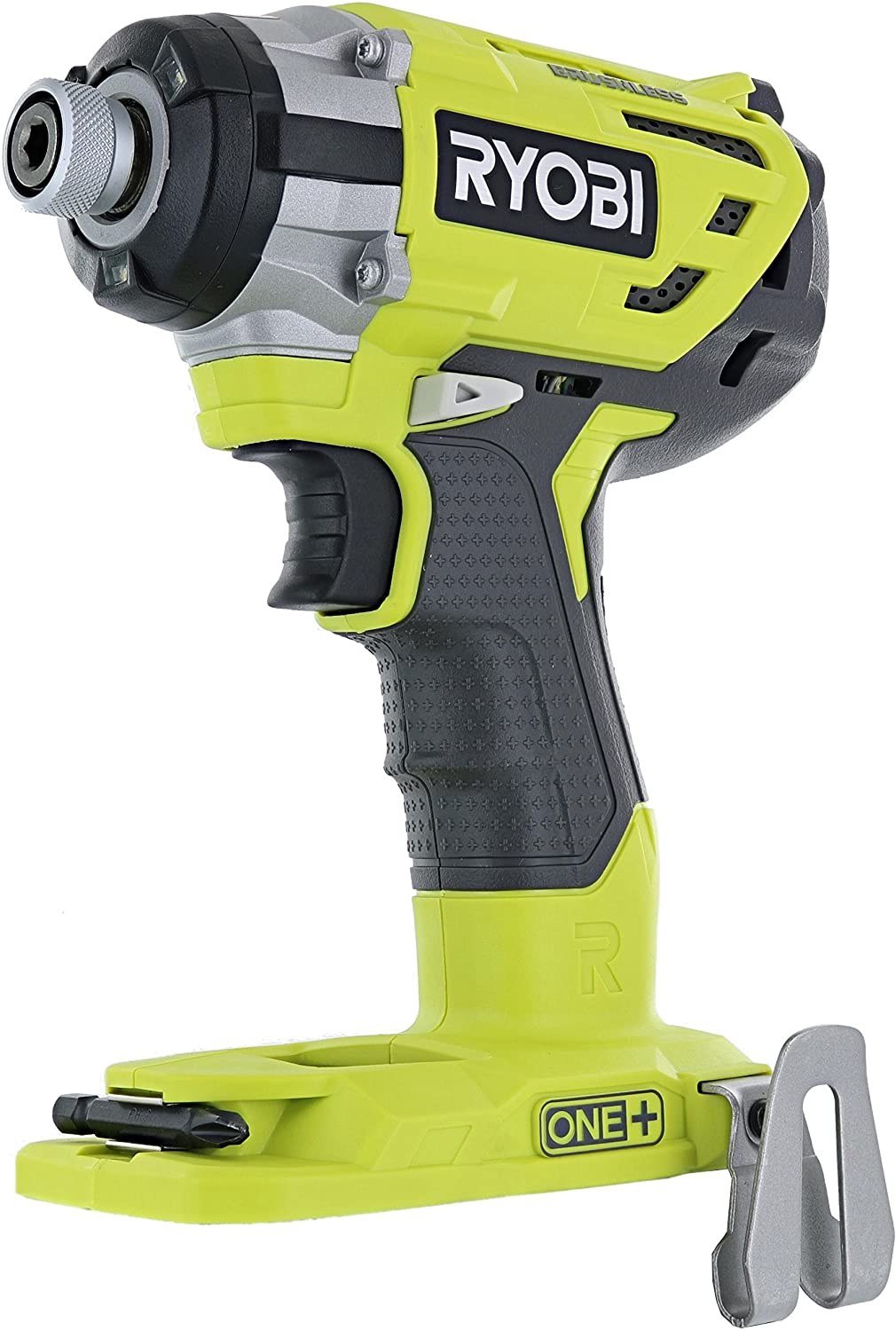 Ryobi P238 18V One Brushless 1 4 2,000 Inch Pound, 3,100 RPM Cordless Impact Driver w Gripzone Overmold, Belt Clip, and Tri-Beam LED Power Tool Only, Battery Not Included