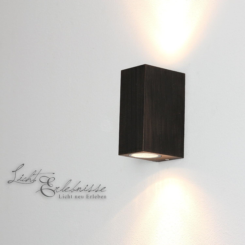 Up & Down Strahler Wand-Aussen-LeuchteAalborg in anthrazit / 2x GU10 bis 35W / IP44 / Wandlampe für Hof Garten Terasse Hauswand Licht-Erlebnisse