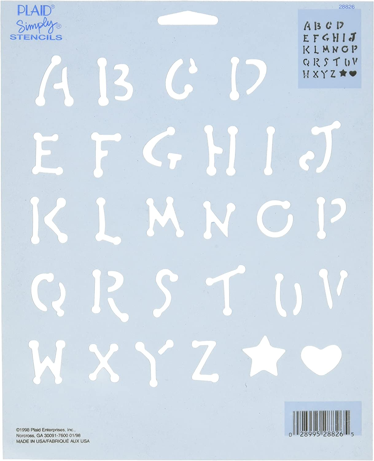 28941 Alphabet and Numbers Plaid Simply Stencil