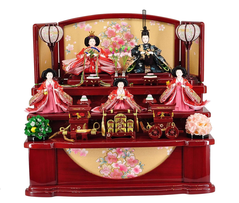 雛人形収納飾り 赤塗 刺繍収納三段 【W60cm×D47cm×H54cm】   B07MR3VZ6Z