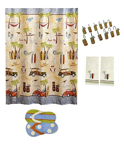Gone Surfing baño cortina de ducha, Tiki de ganchos, toalla de alfombra y tabla