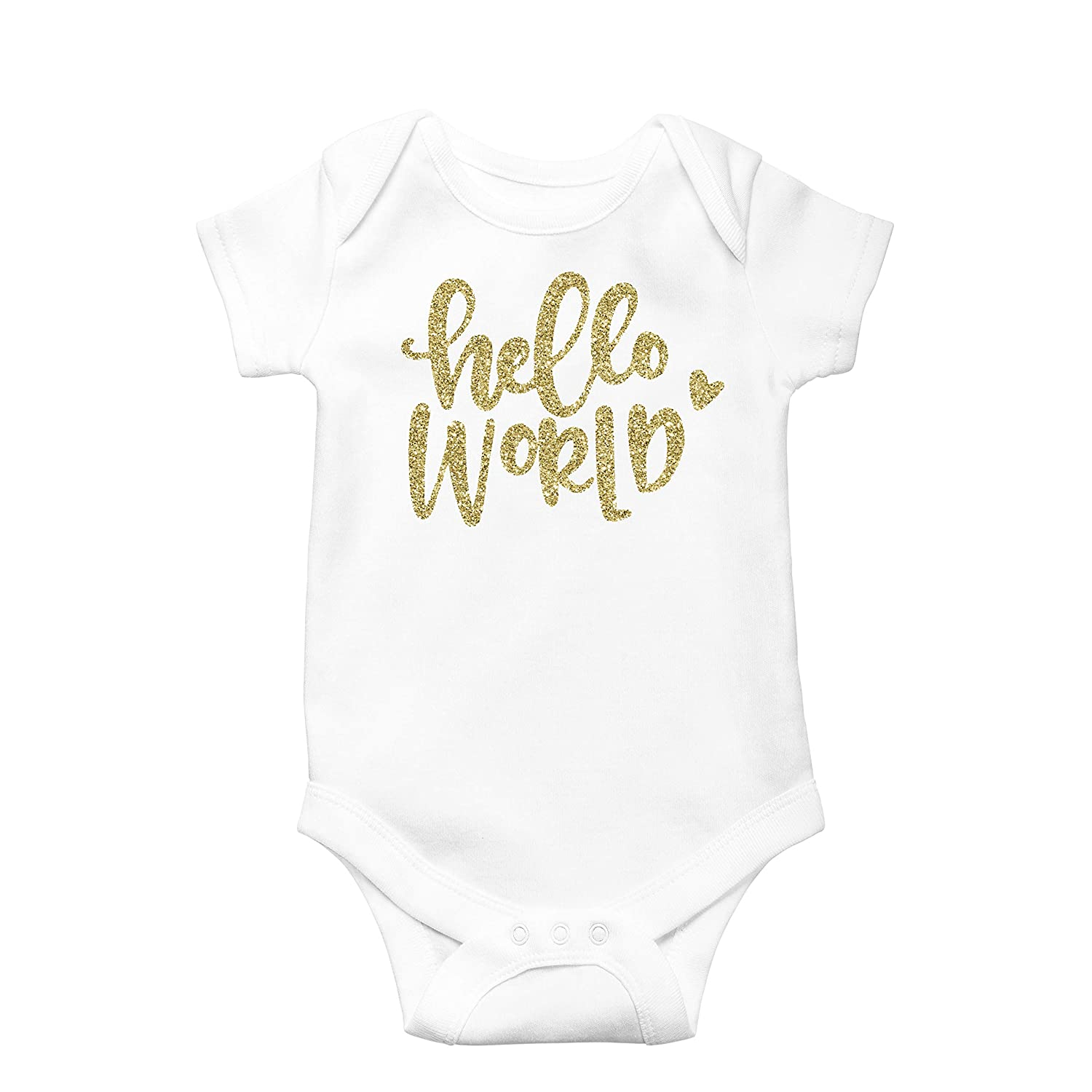 64c40263c996 Amazon.com  Newborn Take Home Bodysuit Hello World Girl Coming Home Outfit  Gold  Clothing