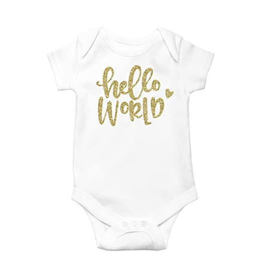 Olive Loves Apple Newborn Take Home Bodysuit Hello World Girl Coming Home  Outfit Gold d36b31925359