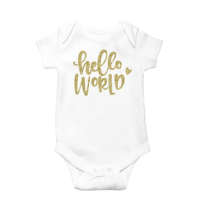 dd871d3f0313e Amazon.com: Newborn Take Home Bodysuit Hello World Girl Coming Home Outfit  Gold: Clothing