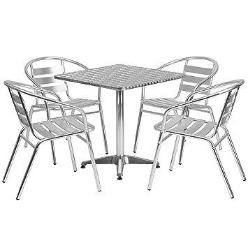 Amazon.com : Flash Furniture 27.5\'\' Square Aluminum Indoor-Outdoor ...