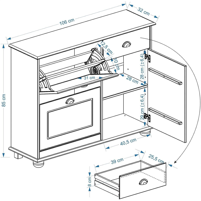 IDIMEX Schuhkipper COLMAR Schuhschrank Flurschrank Dielenschrank mit 2 Klappen, 1 1 1 Tür und 1 Schublade in Kiefer massiv in weiß c652d6