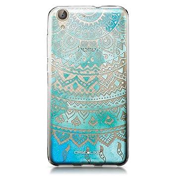 CASEiLIKE Funda Huawei Y6 II, Carcasa Huawei Y6 II/Honor Holly 3, Arte indio de la línea 2066, TPU Gel silicone protectora cover