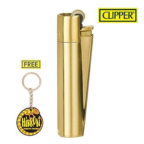 HIBRON Clipper 1 Encendedor Mechero Clásico Largo Metal Gold Oro Dorado Mate Cepillado Y 1 Llavero Gratis