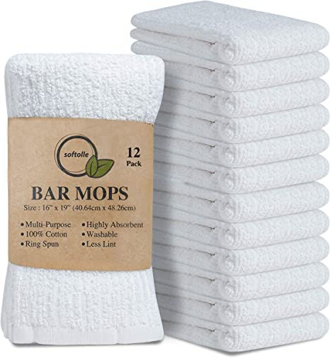 White Bar Towels and Cleaning Towels Utopia Towels 12 Pack Kitchen Bar Mop Towels 16 x 19 inches