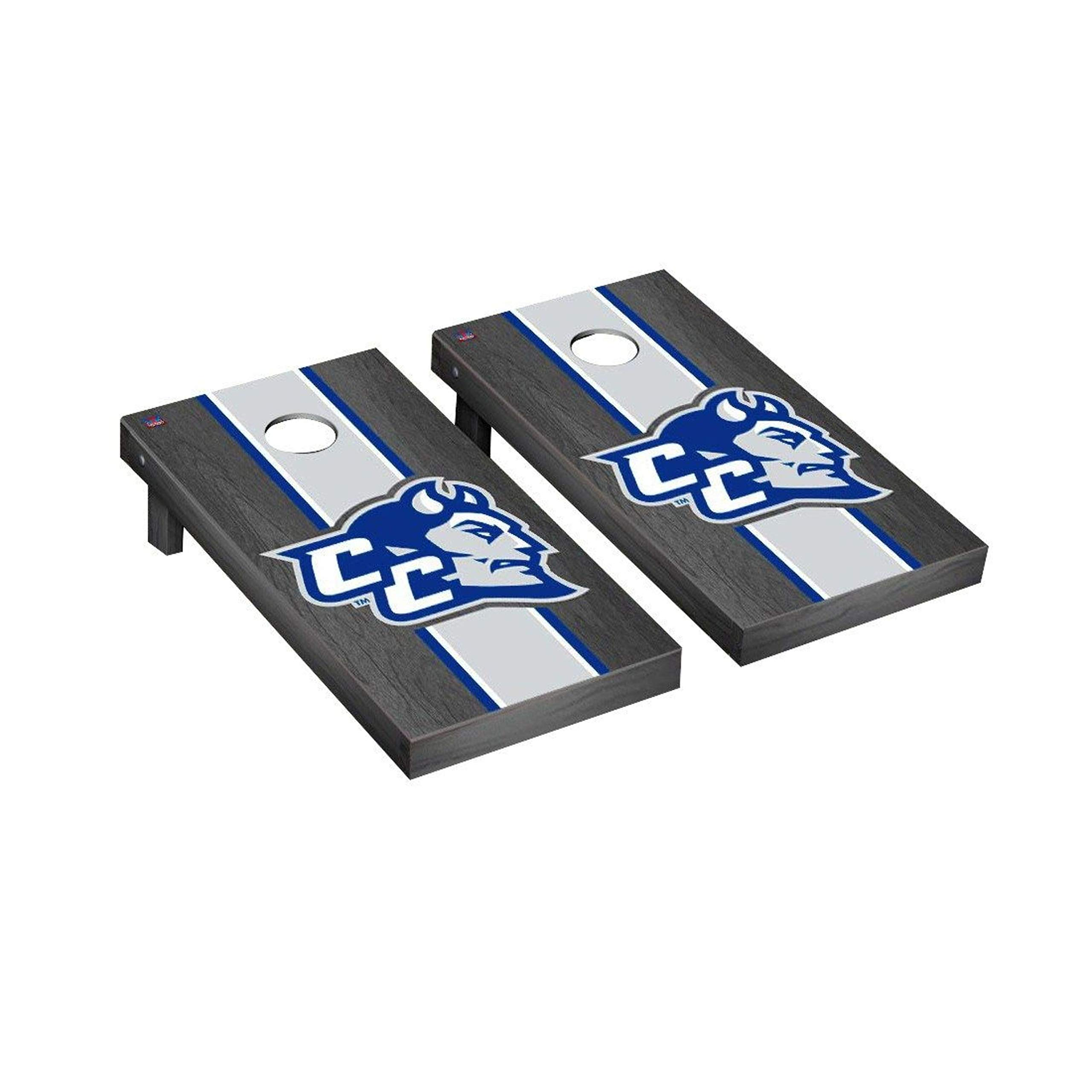Victory Tailgate Regulation Collegiate NCAA Onyx Stained Stripe Series Cornhole Board Set - 2 Boards, 8 Bags - Central Connecticut State Blue Devils by Victory Tailgate
