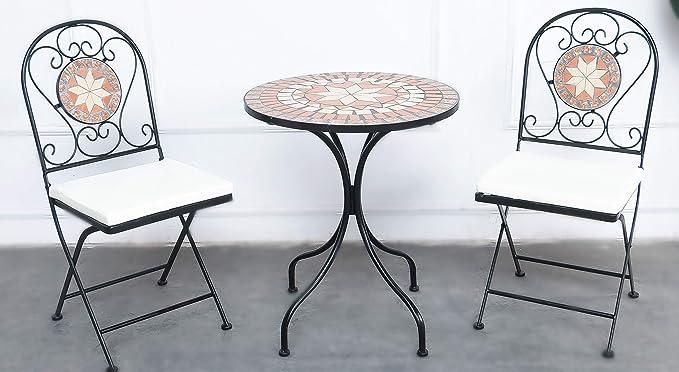 Tidyard 3-TLG.Bistro-Set Garten Sitzgruppe,wetterfest,2 Gartensessel und 1 Tisch,inkl.2 Sitzkissen Kunststoff Anthrazit