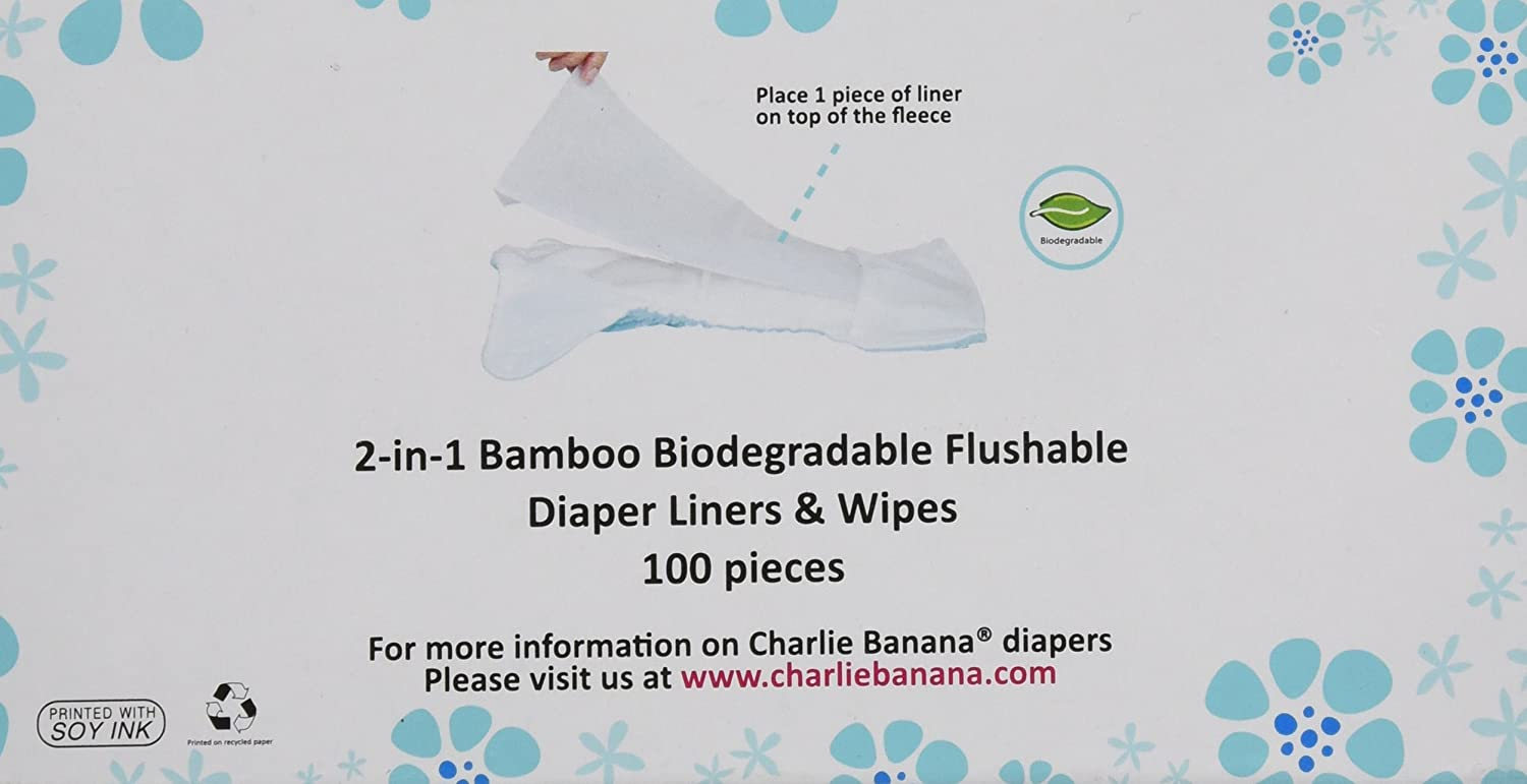 Charlie Banana Cloth Diaper Liners and Wipes 100-Piece
