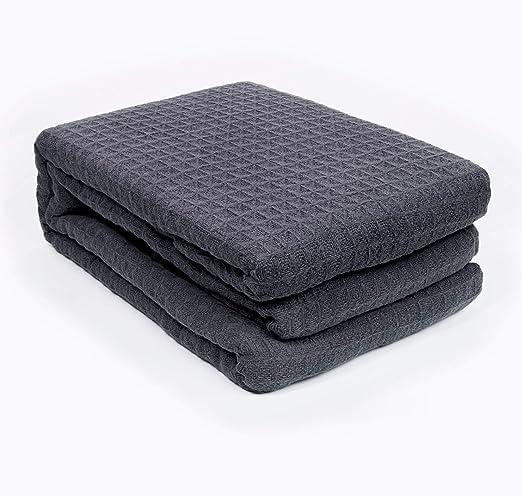 EHC Manta de algodón grueso para cama y sofá – color carbón/marfil ...