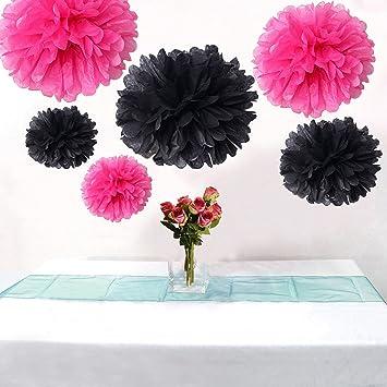 Amazoncom Allheartdesirs Set Of 6 Hot Pink Black Wedding Flower