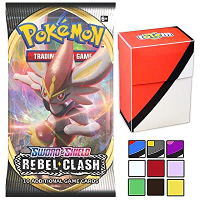 Totem World 1 Rebel Clash Booster Pack with Deck Box for Pokemon Cards - Guaranteed Sword & Shield Rares - Prelease Kit: Toys & Games