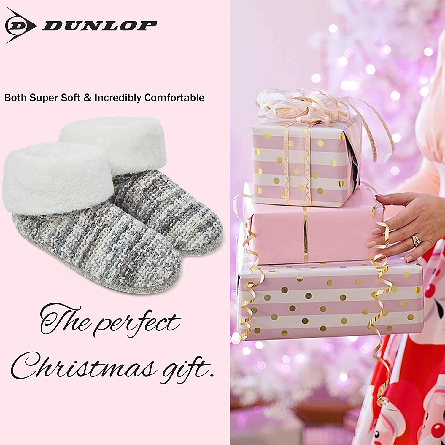 Knitted Slippers with Pom Poms and Fluffy Lining Ladies Quality Ankle Slippers Memory Foam Boots Indoor Outdoor with Non Slip Sole Dunlop Ladies Slippers Comfortable Booties for Women