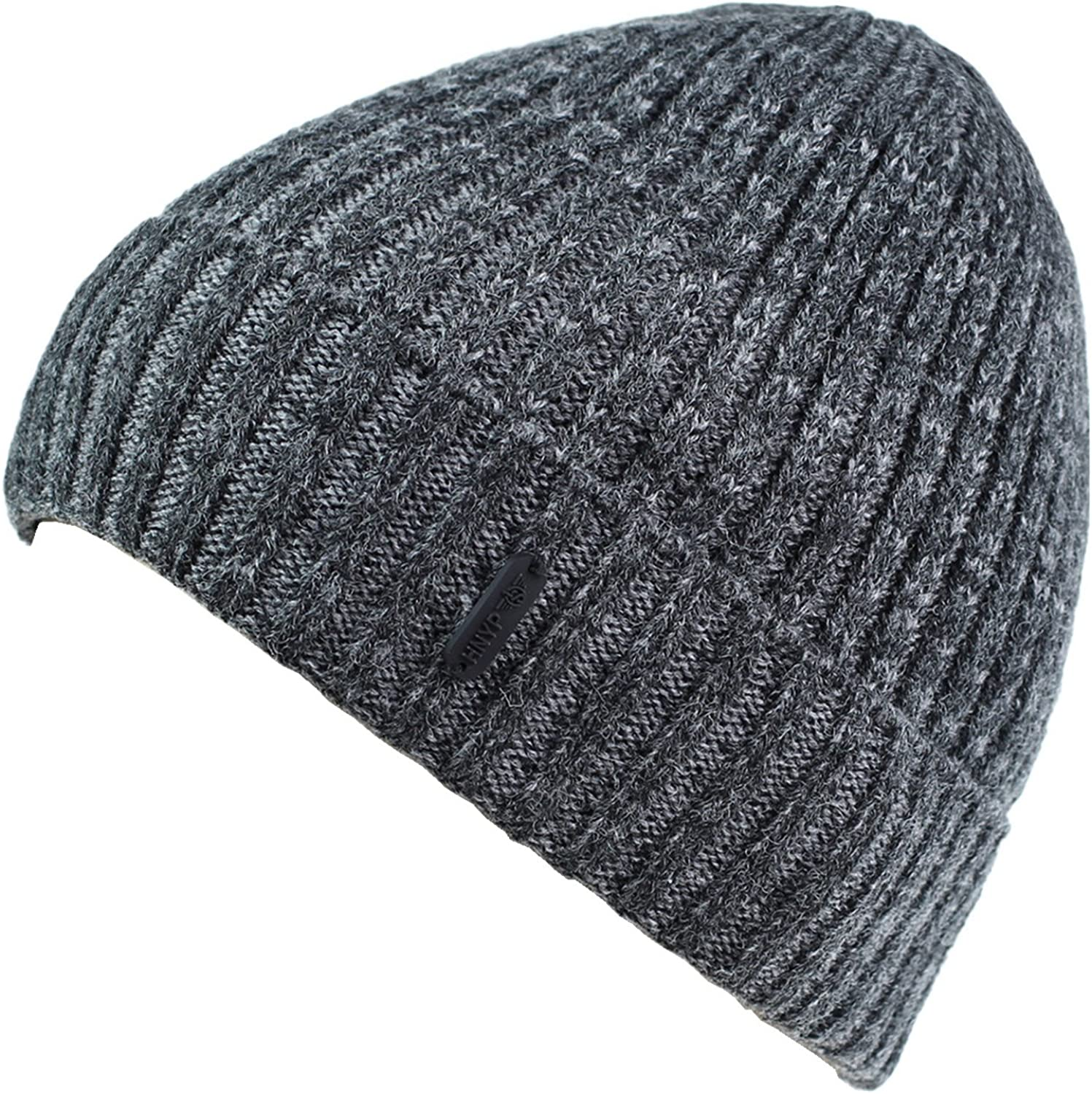 Decentron Classic Mens Warm Winter Hats Thick Knit Long Cuff Beanie Cap with Lining