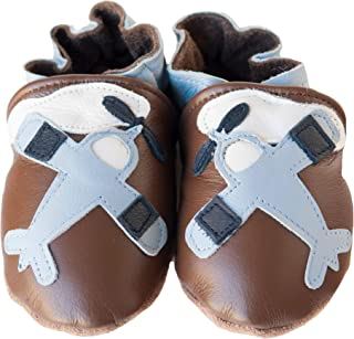 product image for IN-FLIGHT (chocolate) Handmade in USA, All-Natural Leather Baby Shoes.