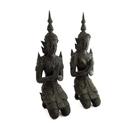 Siam Sawadee Buddhist Thai Angels Bronze Teppanom Kneeling Namaste Statues in Pair from Southeast Asia, Chiang Mai, Thailand