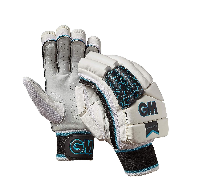 Gunn & Moore Unisex's Diamond Left Hand Batting Gloves, White/Silver/Black/Blue, Adult