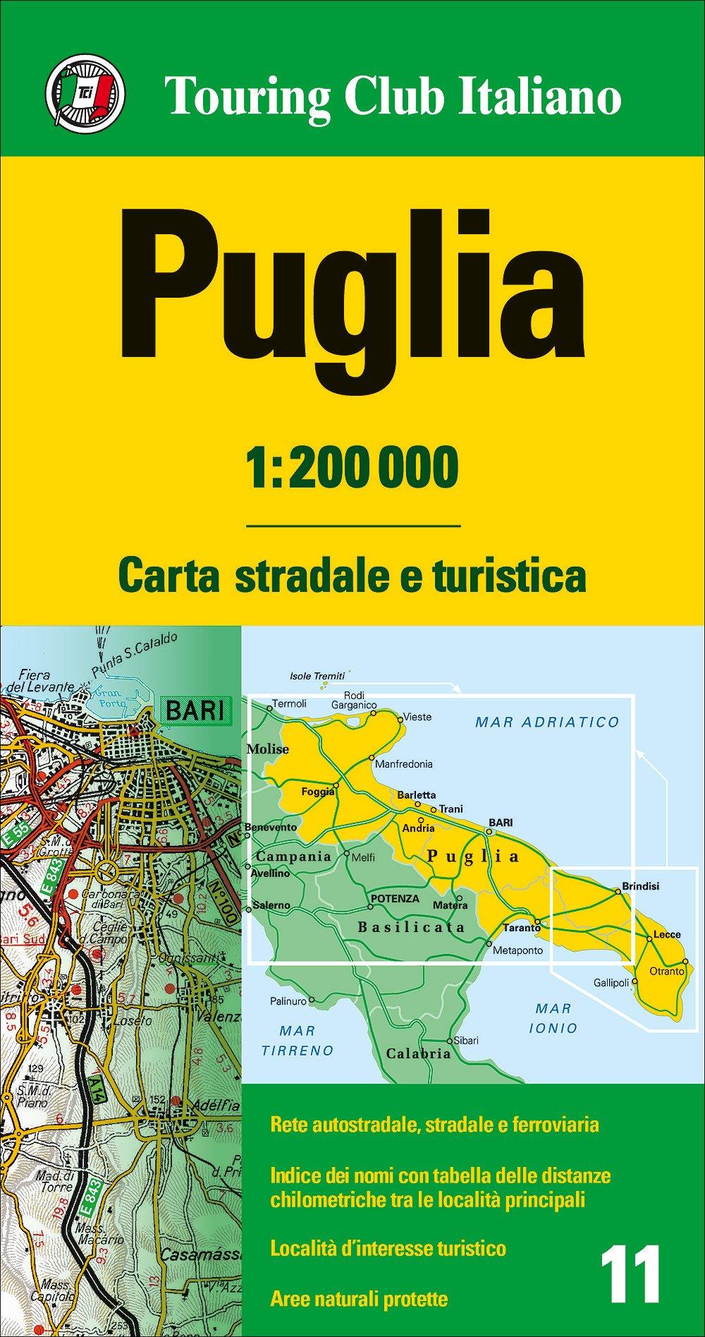 Cartina Stradale Basilicata Puglia.Amazon It Puglia 1 200 000 Carta Stradale E Turistica Aa