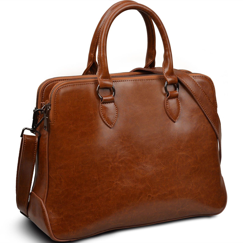Yaluxe Women's Double Zipper Genuine Leather Organizer Handbag Cross Body Shoulder Bag Black 11000925