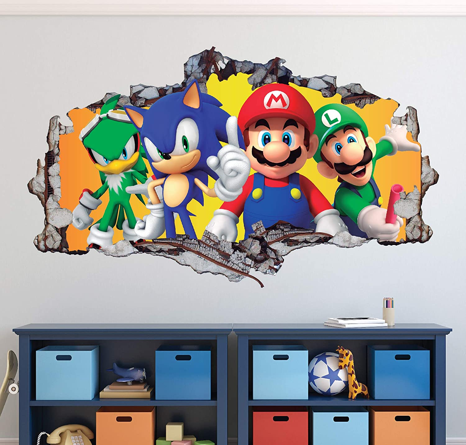 Mario Bros Friends Wall Decal Art Decor 3D Smashed Sonic The Hedgehog  Sticker Mural Kids Gift Large HA04 (22