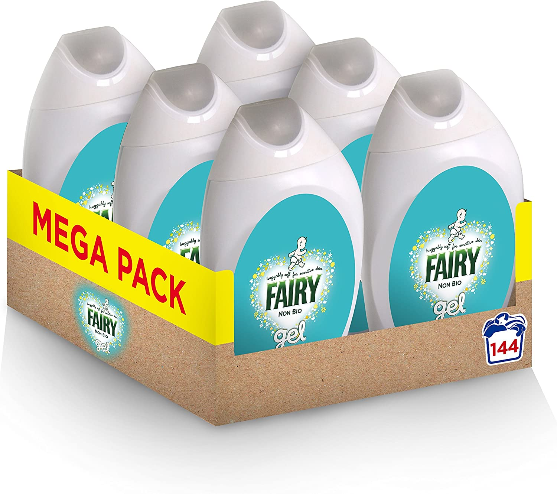 Fairy Non-Bio, Washing Liquid Laundry Detergent Gel, 144 Washes (6 x 888 ml)