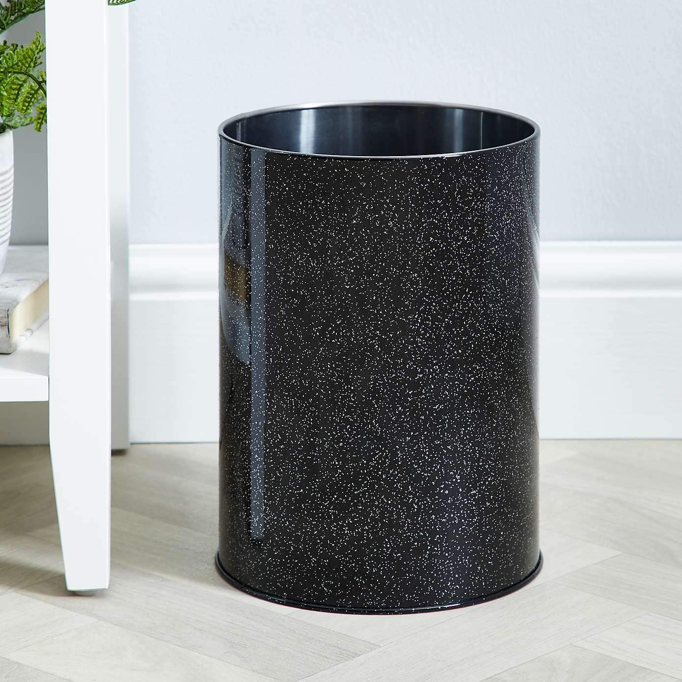 EEMKAY/® New Stainless Steel Bling Black Glitter Waste Paper Bin Perfect For Home And Office 29cm M-19 Black