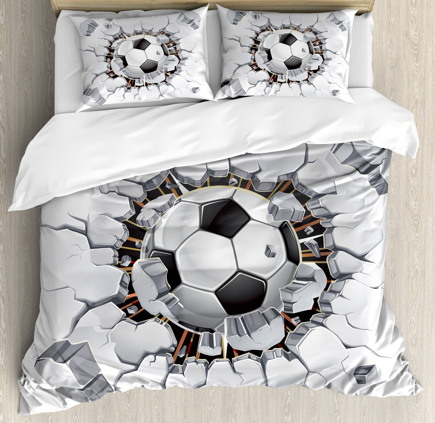 Sports Decor Queen Size Duvet Cover Set by Ambesonne, Soccer Ball and Old Plaster Wall Damage Destruction Punching Illustration, Decorative 3 Piece Bedding Set with 2 Pillow Shams