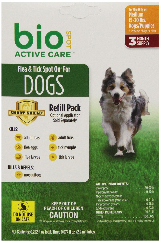 Bio Spot Active Care Flea & Tick Spot On for Medium Dogs (15-30 lbs.) 3 Month Refill