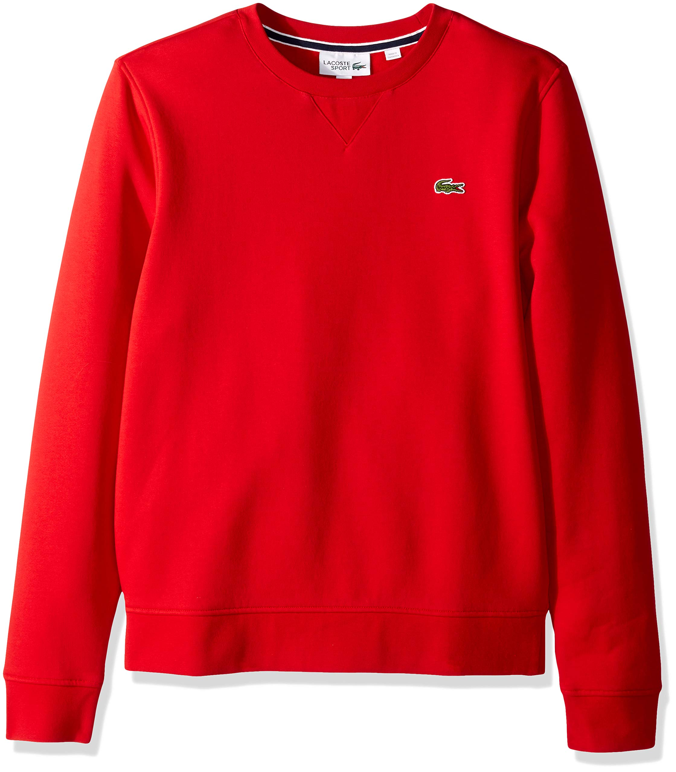 Lacoste Men's Brushed Fleece Crew Neck Sweatshirt, SH7613-51, Red, Small