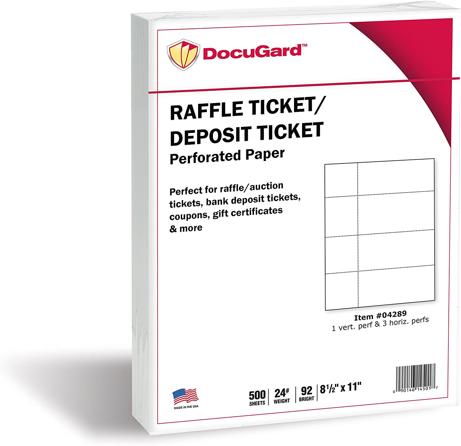 24 lb Tear-Away Stubs 500 Sheets Raffle Tickets and More 04289-1 4 Perfs DocuGard Perforated Paper for Deposit Tickets 8.5 x 11 White