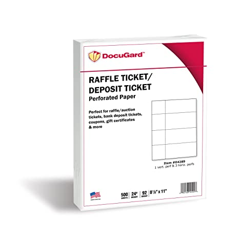 docugard perforated paper for deposit tickets raffle tickets and more tear away