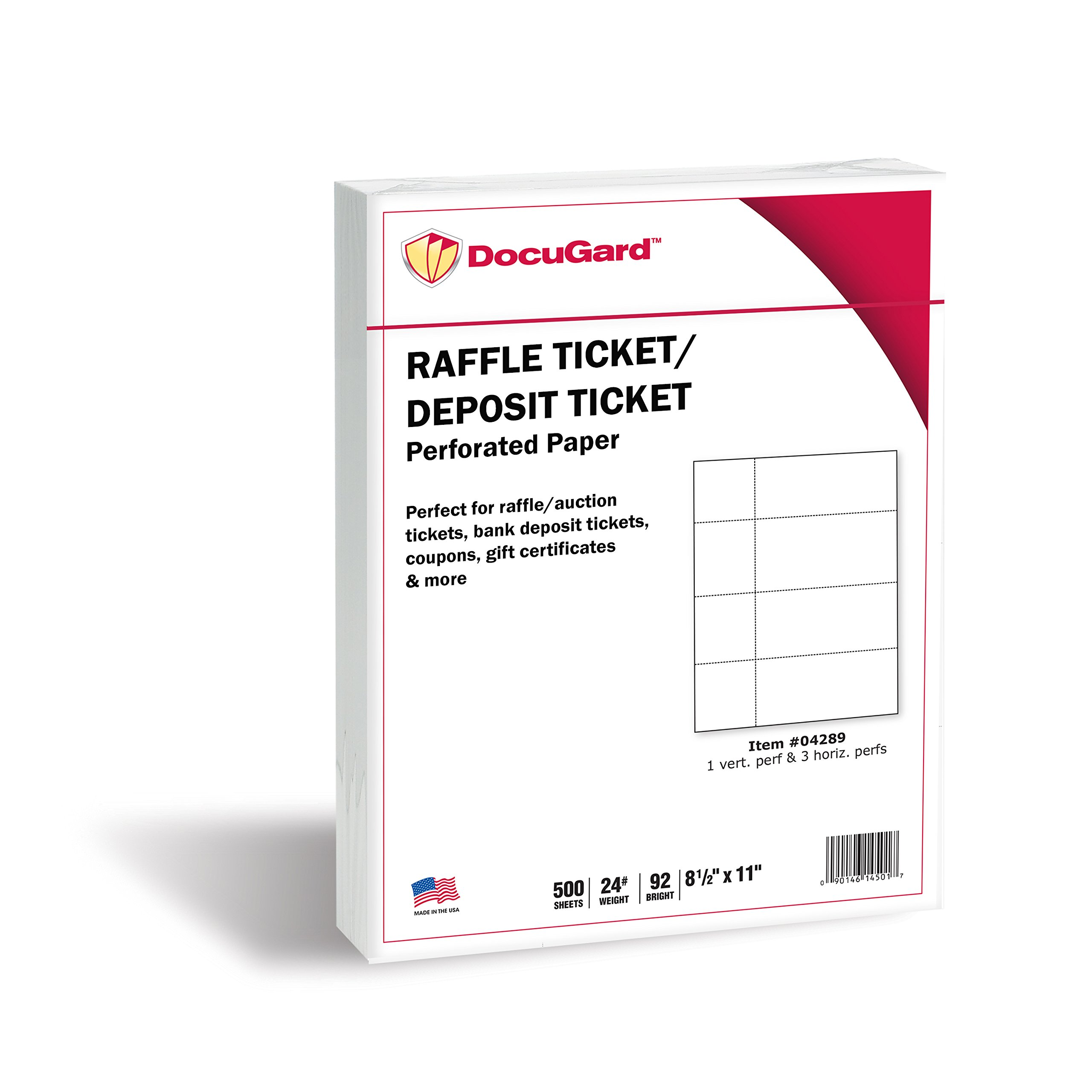 DocuGard Perforated Paper for Deposit Tickets, Raffle Tickets, and More, Tear-Away Stubs, 8.5 x 11, 24 lb, 4 Perfs, 500 Sheets, White (04289-1)