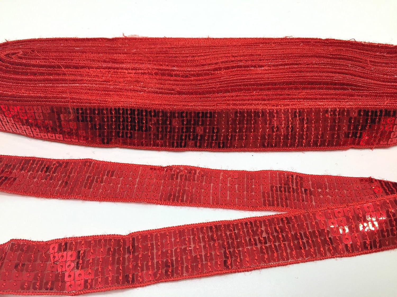 5metres paillettes pizzo nastro per artigianato, costume da sarta, ecc., larghezza 25mm RED mnj