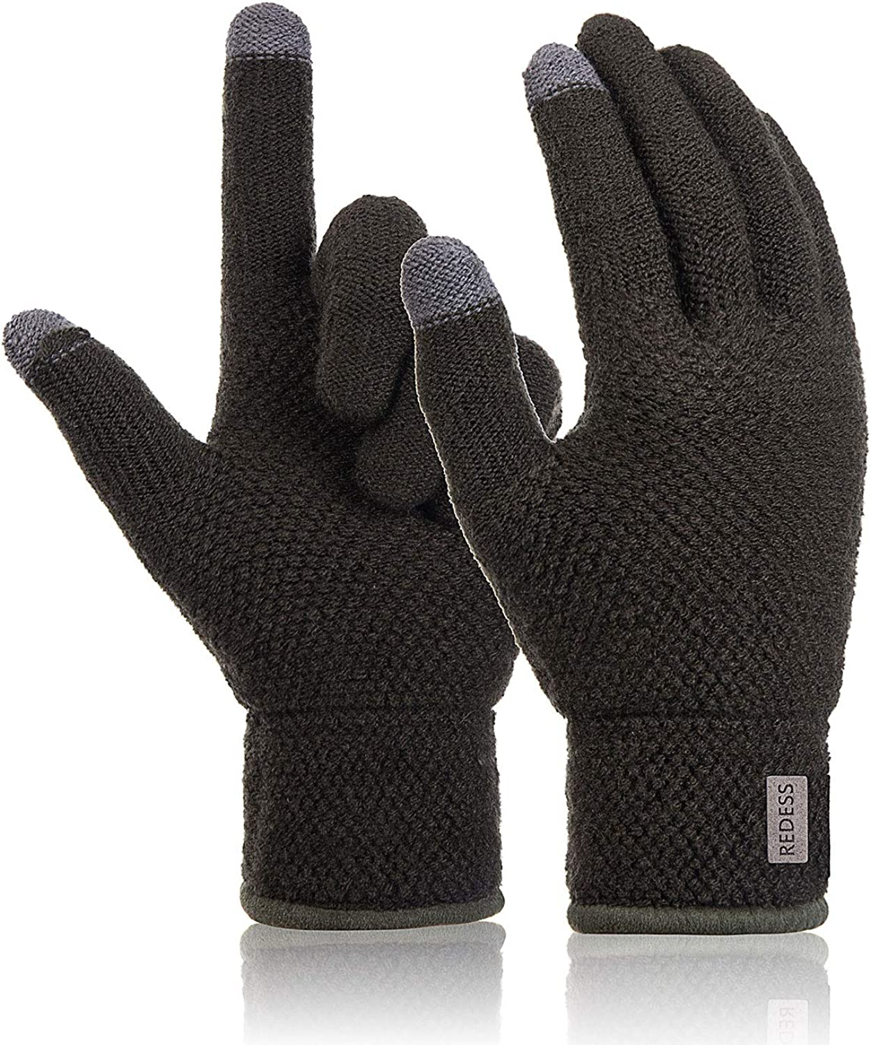 REDESS Womens Mens Warm Winter Warm Touchscreen Knit Gloves,High Sensitive Fleece Lined Texting Gloves/Army Green