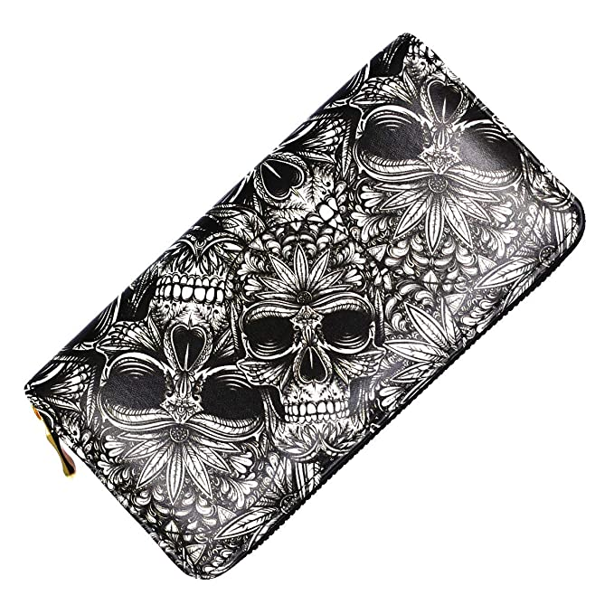 2b630ce35cd Day Dead Wallet Skull Unisex Long Clutch Large Capacity RFID Blocking Purse  Billfold Wallet for Women