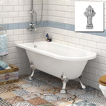 Small Traditional Back To Wall Roll Top Corner Bathtub Designer Acrylic Bath Dragon Feet