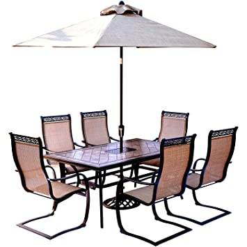 Hanover Monaco 7 Piece Dining Set With 6 C Spring Chairs, A Tile
